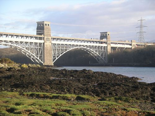 Andrew Dixon. Location: Britannia Bridge taken from the Nelson memorial on the Menai Strait, Anglesey